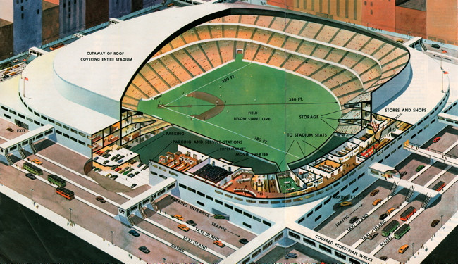 """Artist depiction of Walter O'Malley's """"Dodger Dome,"""""""