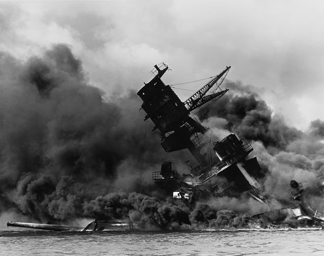 USS Arizona burning after the Pearl Harbor attack