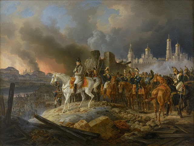 Napoleon in burning Moscow by Adam Albrecht, 1841