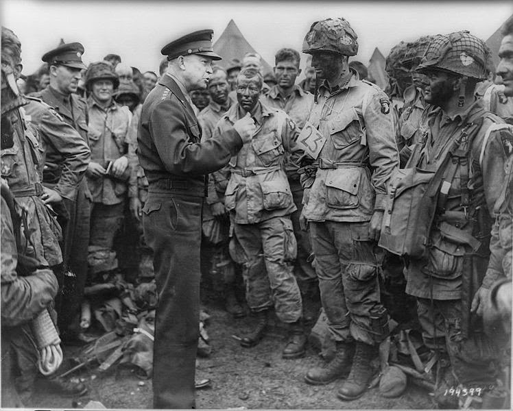 General Dwight D Eisenhower with US paratroopers of the 101st Airborne Division  on 5 June 1944, the day before D-Day
