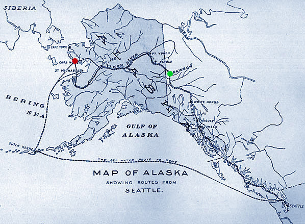 The routes to Nome, Alaska