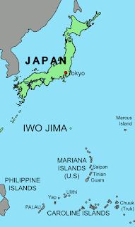 Map showing Japan, Iwo Jima  & the Mariana Islands