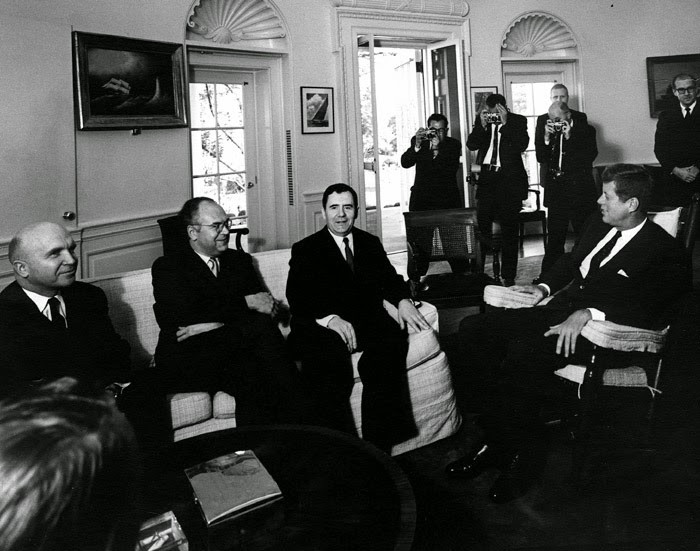 Andrei Gromyko meeting President John Kennedy in the Oval Office