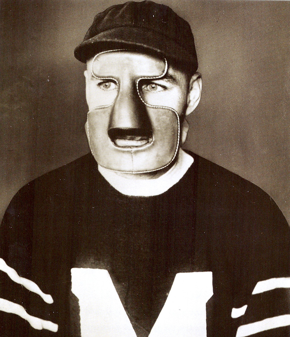 Clint Benedict wearing the first goalie mask