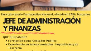 Buscamos JEFE DE ADMINISTRACIÓN Y FINANZAS
