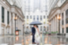 Joyce Pollakoff Chicago Wedding Outside Rain Board of Trade