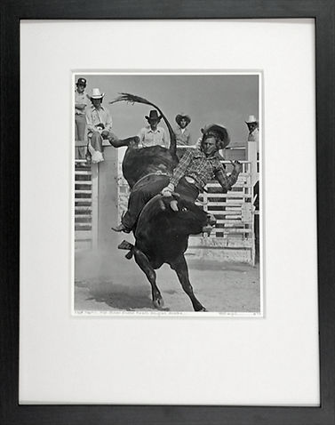 MATT MARTIN, HIGH SCHOOL RODEO FINALS SignedSilver Gelatin Framed Print by Louise Serpa