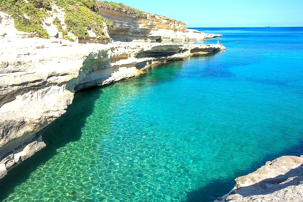 In the Mediterranean and away from the city is St Peters Pool is one of Malta's beautiful natural swimming pools. Located near Marsaxlokk, St Peter's Pool is surrounded by nature.