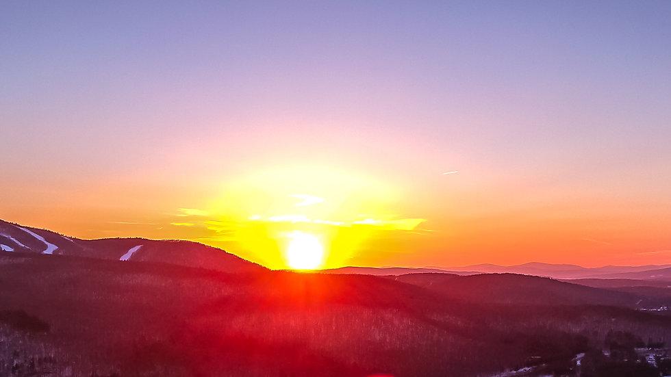 """Sunapee Sunset 10"""" x 30"""" panoramic print"""