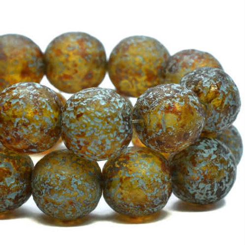 8 mm Druk Amber w/ Picasso, Turquoise Wash & Etched Finish