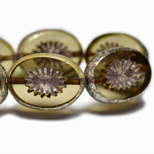 12x14mm Kiwi Khaki with a Silver Finish and Brown Wash
