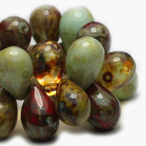 6X9 mm Drop Mix of Amber, Tea Green, Ladybug & Olive w/ Picasso