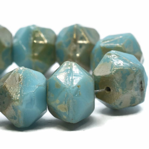 10 mm English Cut Blue Turquoise w/ Picasso Finish