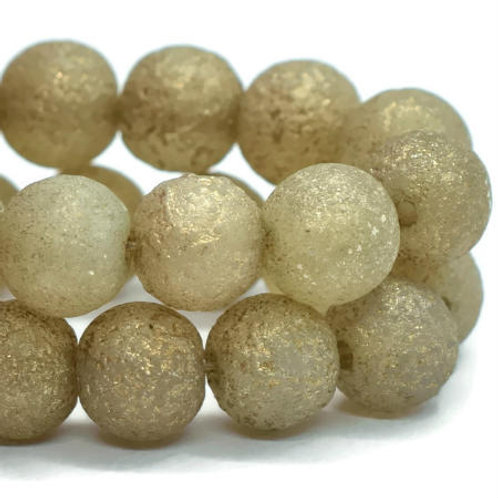 6 mm Round Druk Champagne w/ Gold Wash & an Etched Finish