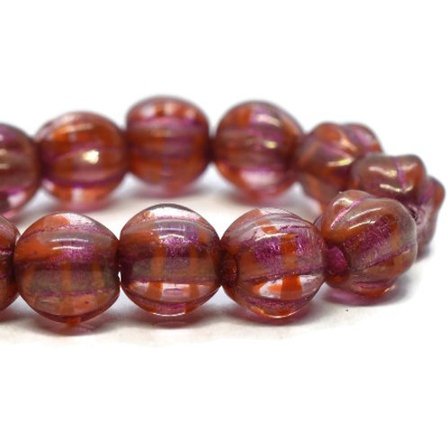 6 mm Large Hole Melon - Boysenberry w/ Golden Luster & Pink Wash