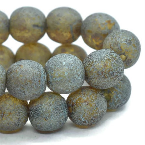 6 mm Druk Beads Trans. Amber w/ Picasso Finish Turquoise Wash & Etched Finish
