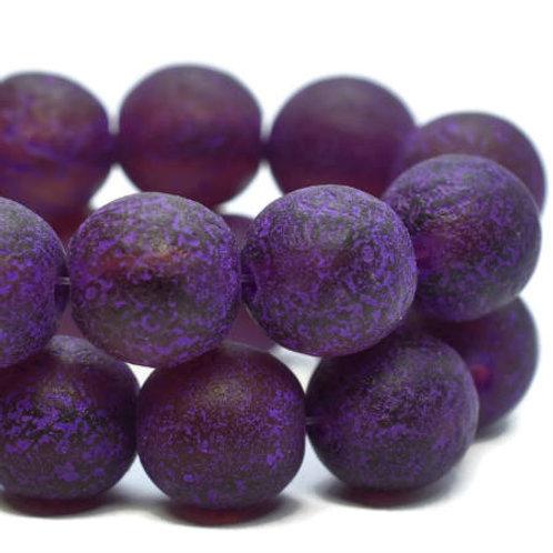 8 mm Round Druk Beads Purple w/ Purple Wash & Etched Finish