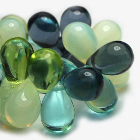 6X9 mm Drop Mix of Cadet Blue, Medium Sky Blue, Green Apple & White Opal