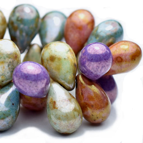 6x9mm Drop Bead Mix Of Grape, Apricot, Willow and Medium Sky Blue with Picasso F