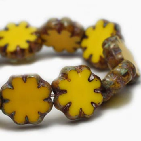 9 mm Cactus Flower Yellow with Picasso Finish