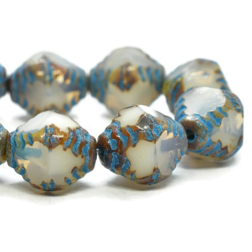 8x10mm Faceted Bicone White with a Picasso Finish and Turquoise Wash