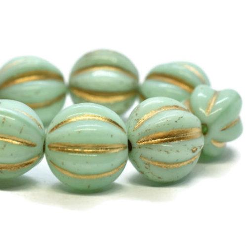 10 mm Melon in Mint W/ Gold Wash