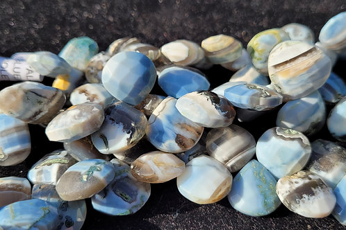 5.15x15 mm Blue/ Grey Striped Opal faceted briollettes