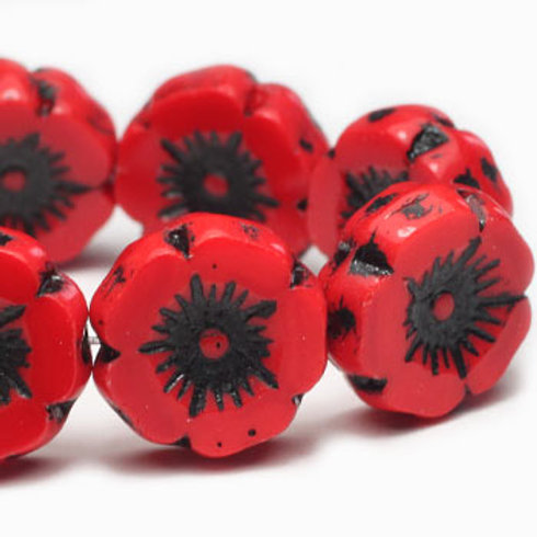 12 mm Hibiscus Flower in Scarlet Red with Black Wash