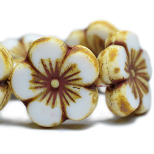 22 mm Hibiscus Flower Bead in White with Picasso Finish