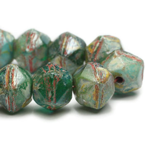 8mm English Cut Green with Picasso Finish and Coral Wash