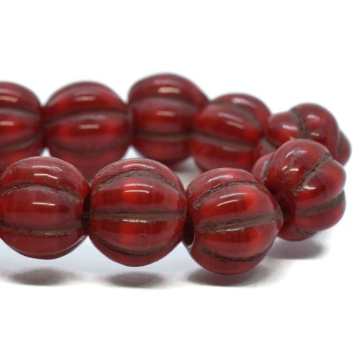 8 mm Large Hole Melon - Ruby Red w/ Bronze Wash
