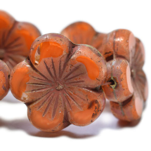 22 mm Hibiscus Flower in Orange w/ Picasso Finish