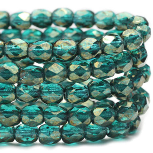 4 mm Faceted Round Firepolished Beads in Blue Green w/ Gold Luster