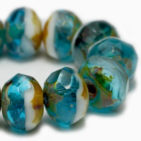 6X8 mm Rondelle - Transparent Glass, Teal Blue & White w/ Picasso Finish