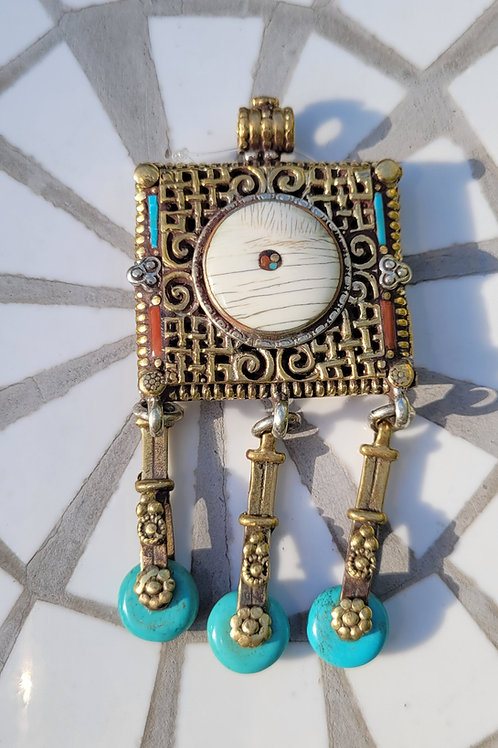 87x38 mm Tibetan Brass Pendant inlayed with Bone, Turquoise and Coral