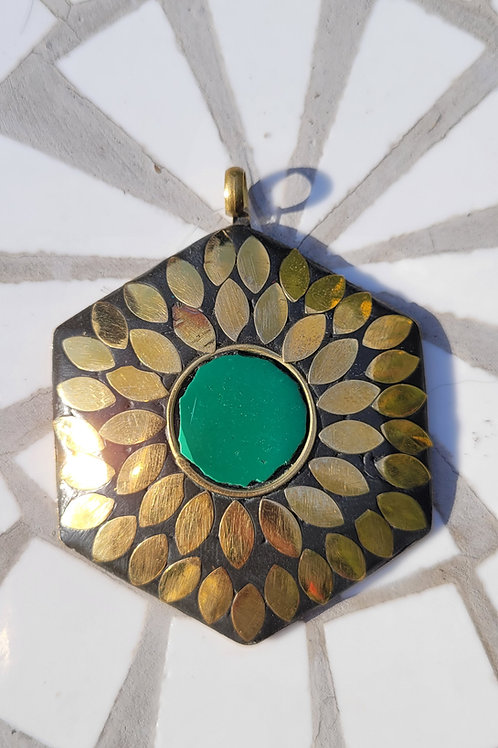 5.62x62 mm Tibetan Pendant made of brass and a bezeled Green Resin