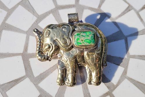 65x63 mm Tibetan Brass Elephant with a bezeled Green Imperial Jasper