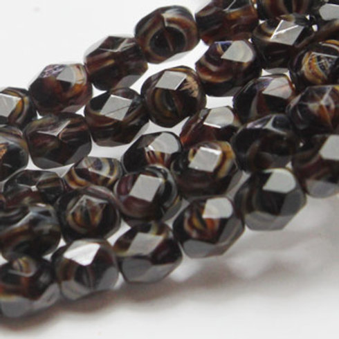 4 mm Faceted Round Firepolished Beige