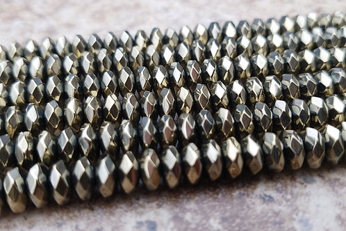 Hematite -3x6 mm Faceted Roundelle