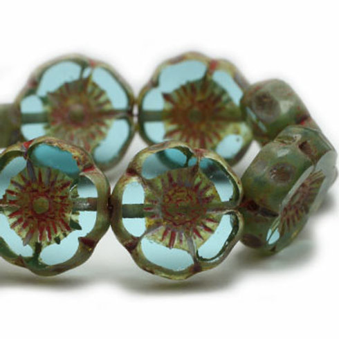 12 mm Hibiscus Flower Beads in Pale Blue w/ Picasso Finish