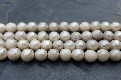 White Lace Agate - Diamond Coated - 8 mm