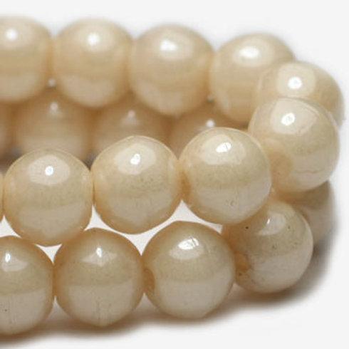 4 mm Round Druk Beads in Beige