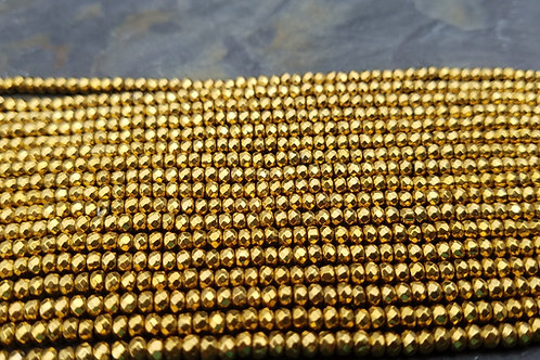 Gold Hematite - 2x3 mm Faceted Roundelle