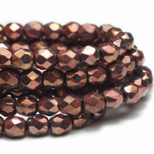 4 mm Faceted Round Firepolished Bead in Salmon w/ Bronze Finish