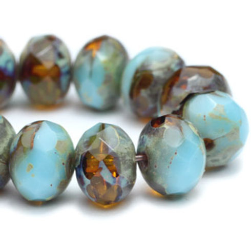5x7 mm Rondelle - Medium Sky Blue & Amber w/ Picasso Finish