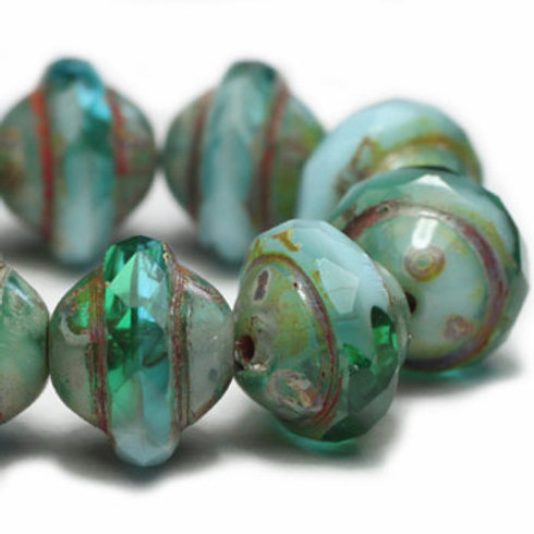8x10mm Saturn Emerald and Sky Blue with Picasso Finish
