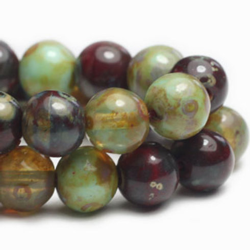 4 mm Round Druk Beads in Sage & Red Oxide Mix
