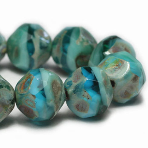 8 mm Baroque Beads in Tea Green & Sky Blue w/ Picasso