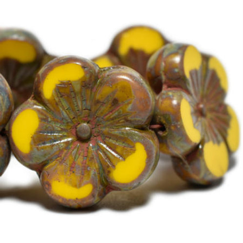 22 mm Hibiscus Flower Bead in Dandelion with a Picasso Finish