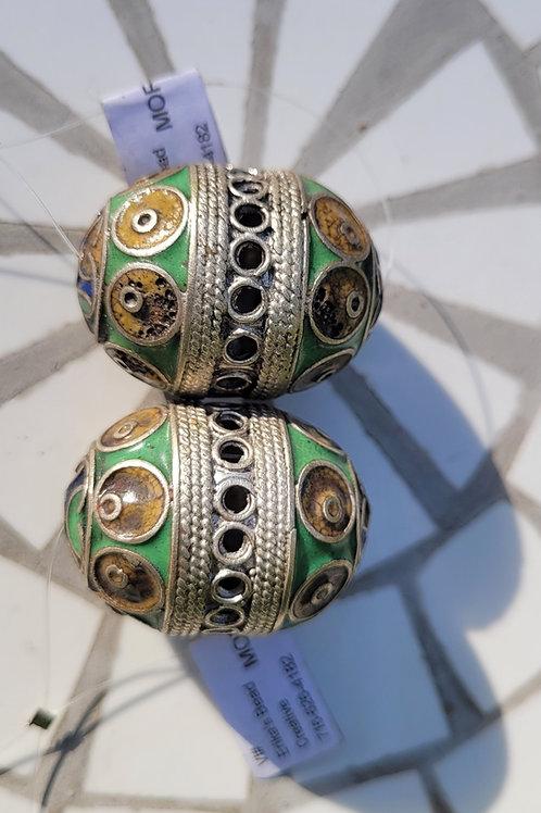 12.35x27 mm Moroccan metal enameled beads